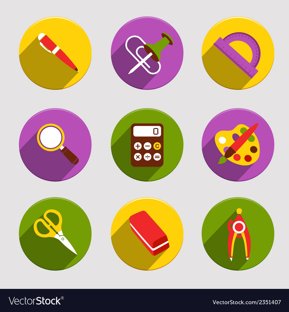 Flat school icons set vector | Price: 1 Credit (USD $1)