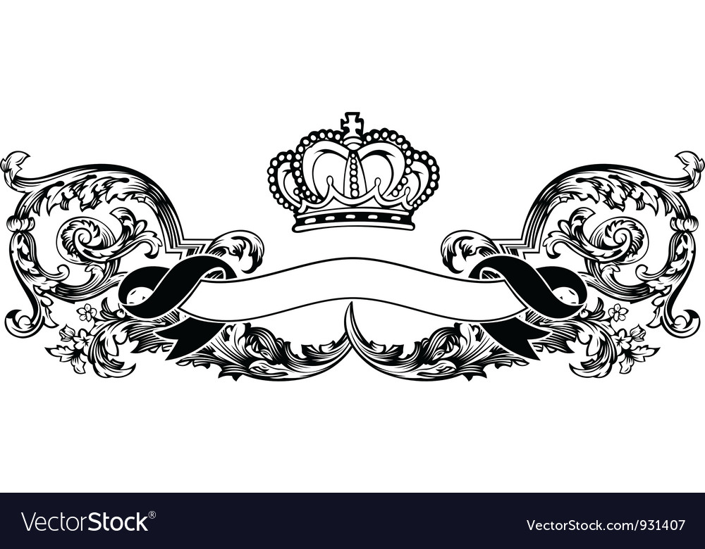 One color royal crown vintage curves banner vector