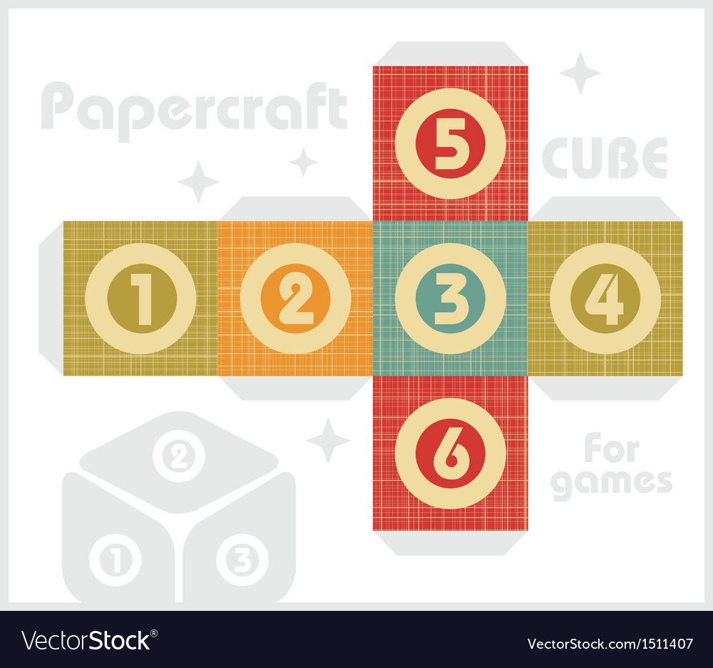 Paper cube for table games in retro style vector | Price: 1 Credit (USD $1)
