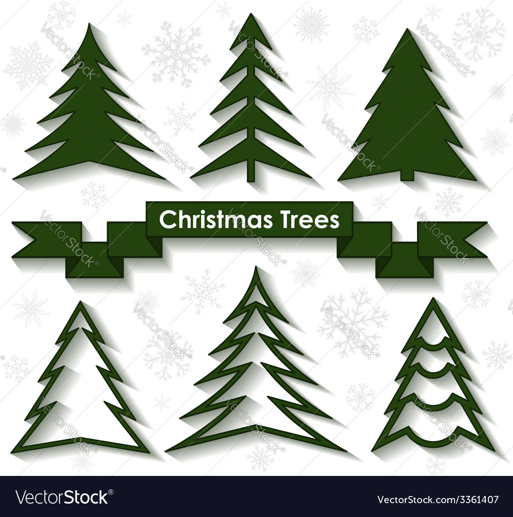 Set of christmas trees flat design vector | Price: 1 Credit (USD $1)