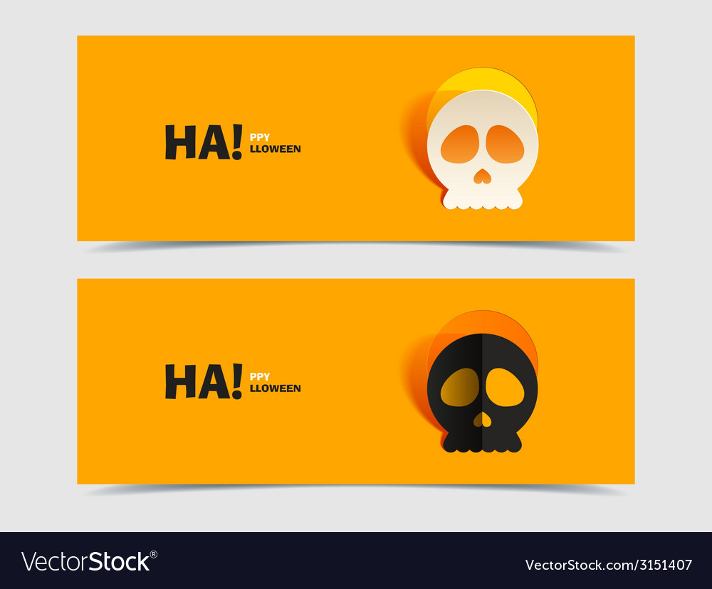 Set of two banners with carved skull vector | Price: 1 Credit (USD $1)