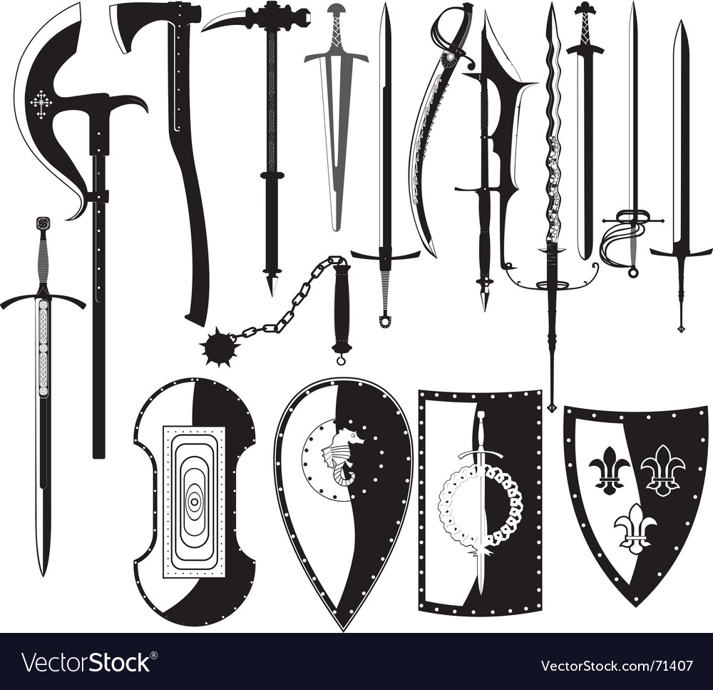 Silhouettes of weapons vector | Price: 1 Credit (USD $1)