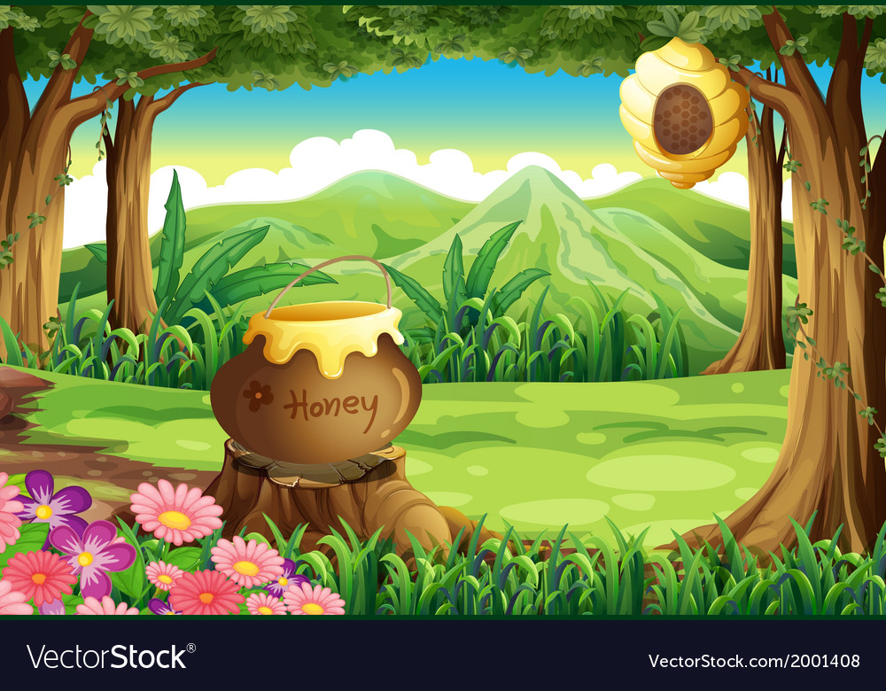 A stump at the jungle with a big pot of honey vector | Price: 3 Credit (USD $3)