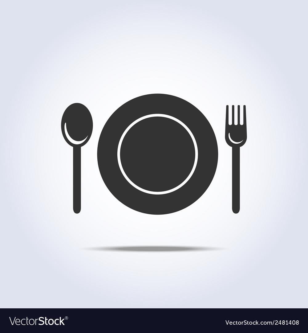 Fork spun plate icon vector
