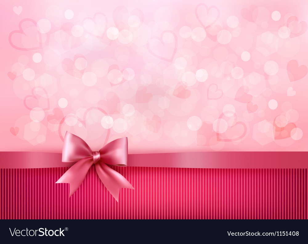 Holiday background with gift pink bow and ribbon vector | Price: 1 Credit (USD $1)