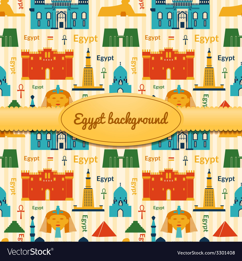 Landmarks of egypt background vector | Price: 1 Credit (USD $1)
