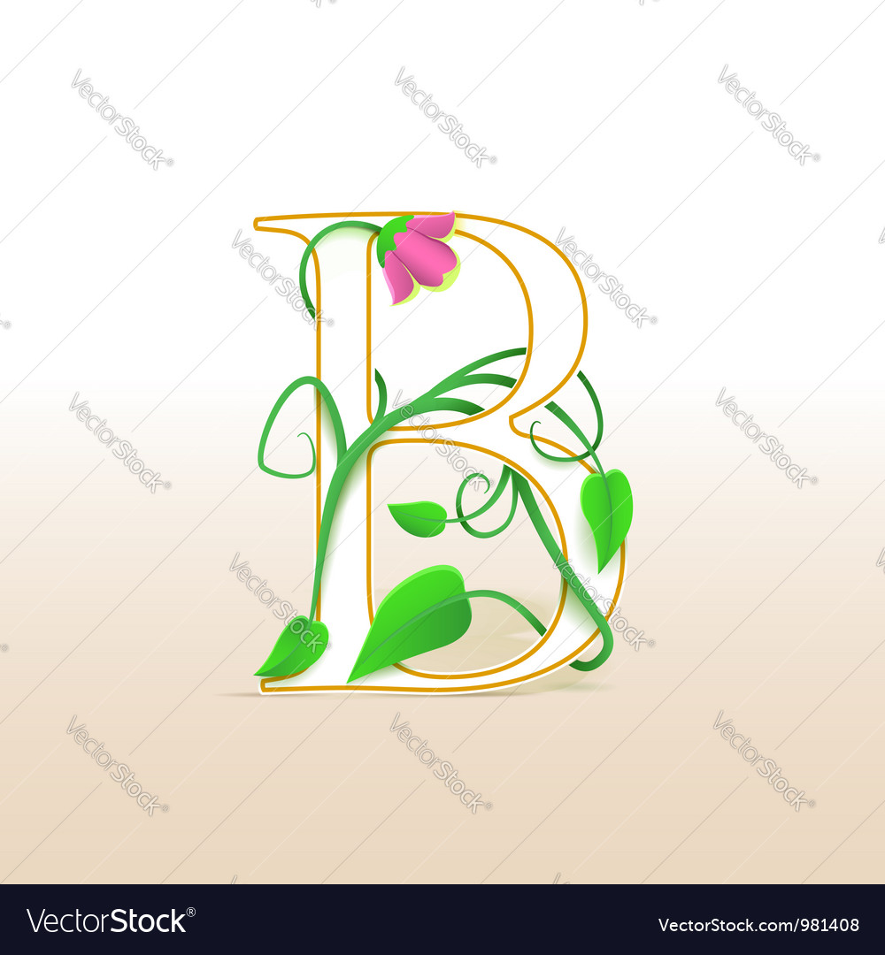 Letter b with an vintage floral pattern vector | Price: 1 Credit (USD $1)