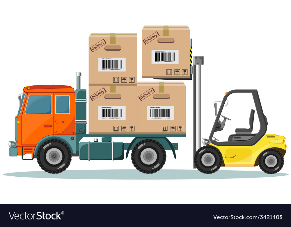 Loader sinker boxes in the truck vector   Price: 3 Credit (USD $3)