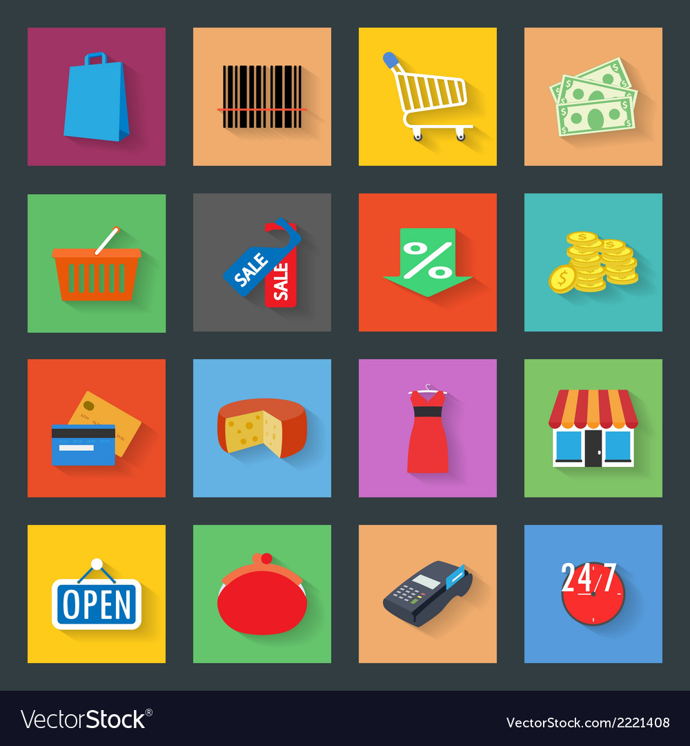 Market flat icons set vector | Price: 1 Credit (USD $1)