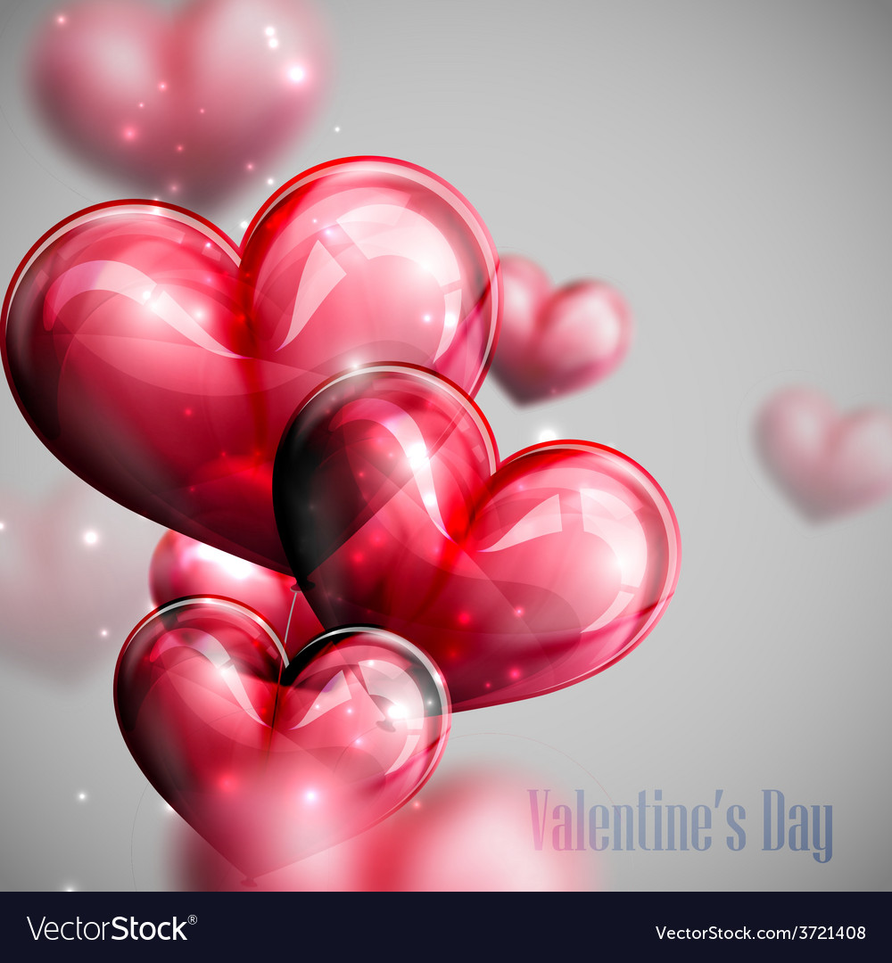 Red balloon hearts with shiny sparkles vector | Price: 1 Credit (USD $1)