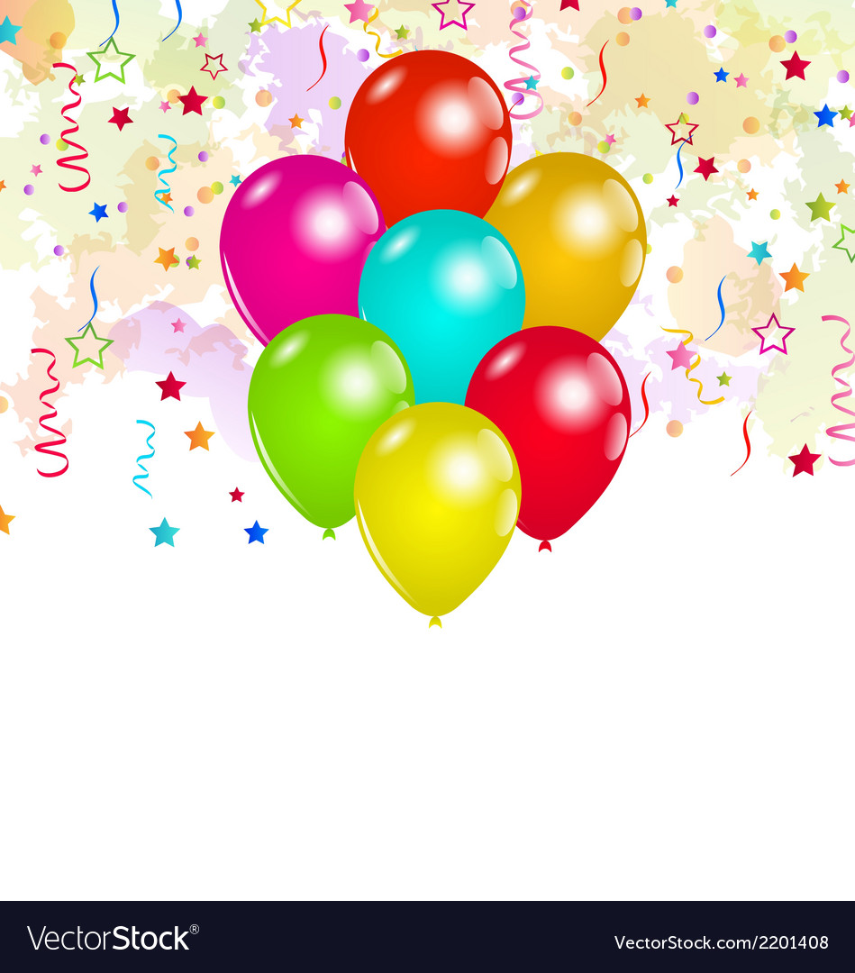 Set colorful balloons and confetti for your party vector | Price: 1 Credit (USD $1)