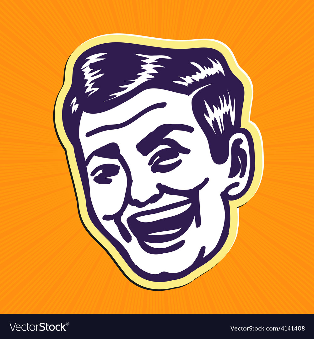 Vintage charming portrait of smiling retro man vector | Price: 1 Credit (USD $1)
