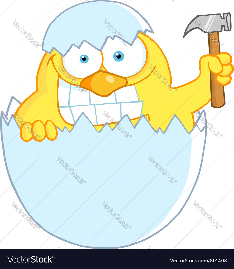 Yellow easter chick holding a hammer in a shell vector   Price: 1 Credit (USD $1)