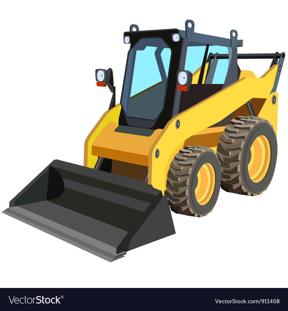 Yellow skid loader vector | Price: 1 Credit (USD $1)