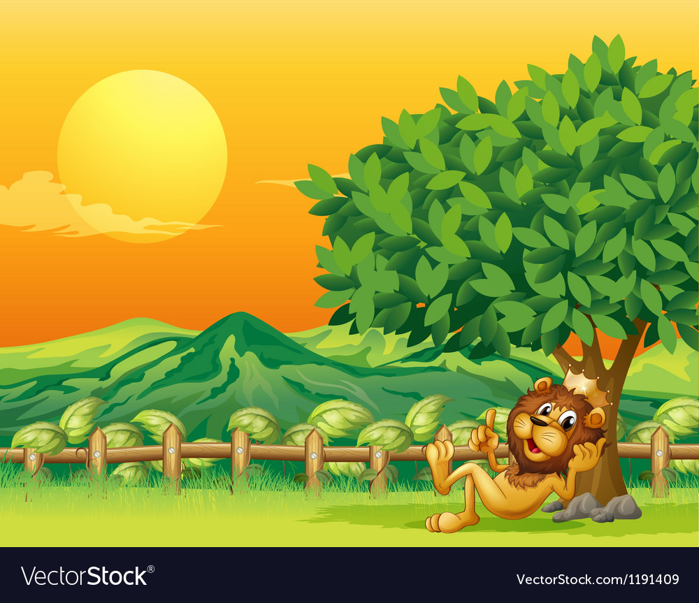 A king lion inside the wooden fence vector | Price: 1 Credit (USD $1)