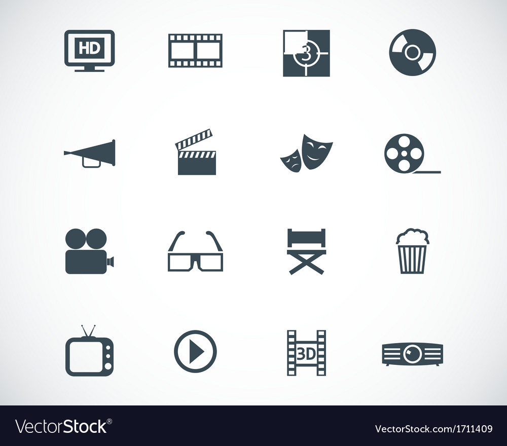 Black cinema icon set vector | Price: 1 Credit (USD $1)