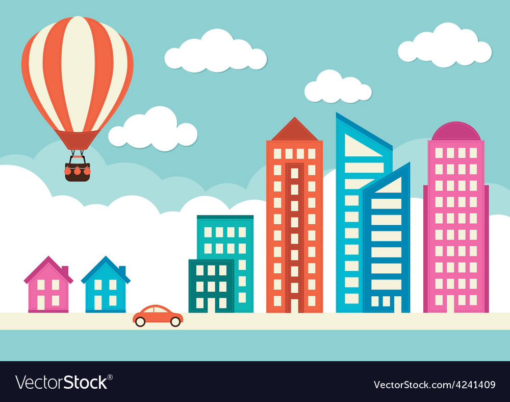 City with houses and office buildings vector | Price: 1 Credit (USD $1)