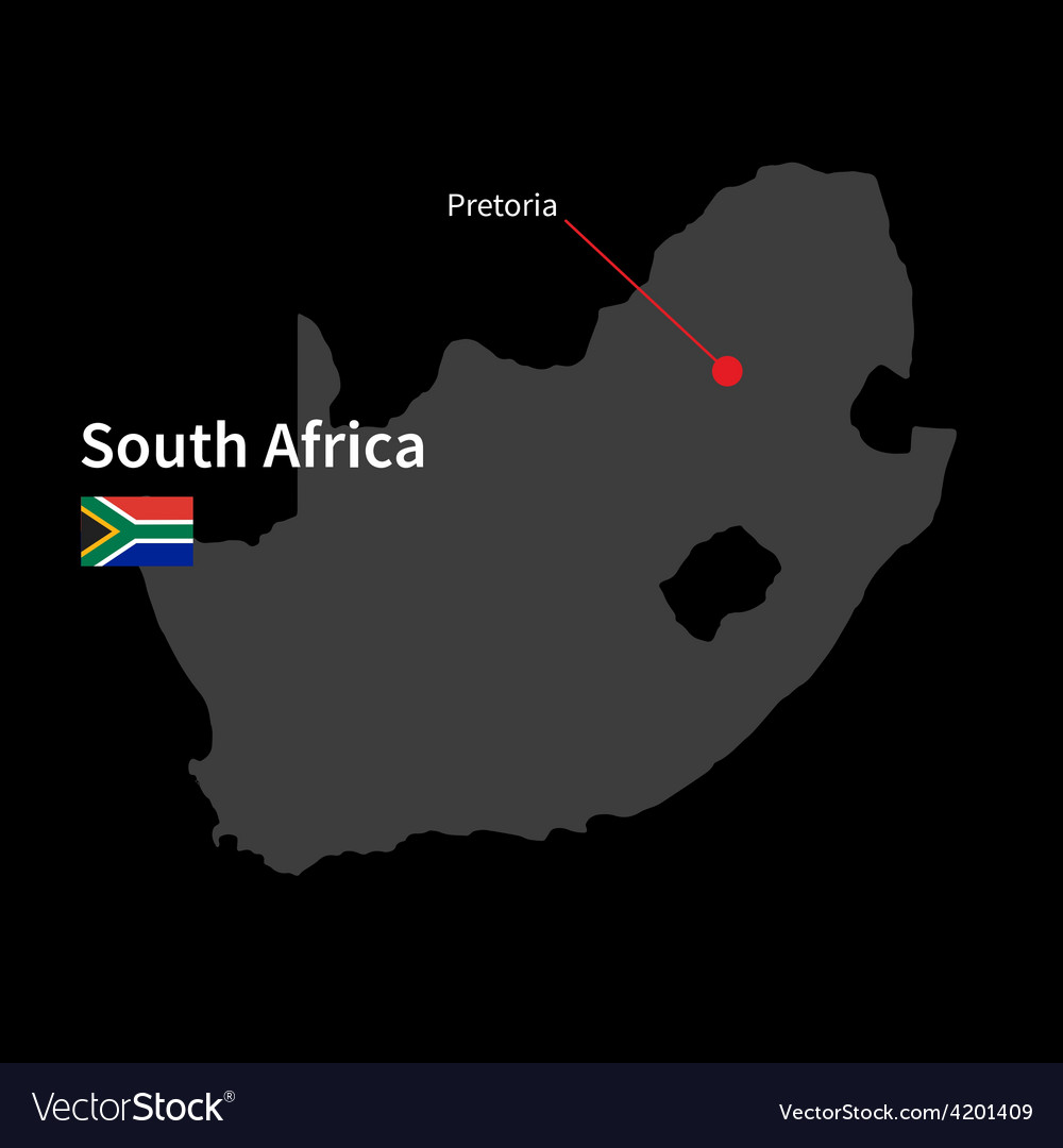 Detailed map of south africa and capital city vector | Price: 1 Credit (USD $1)