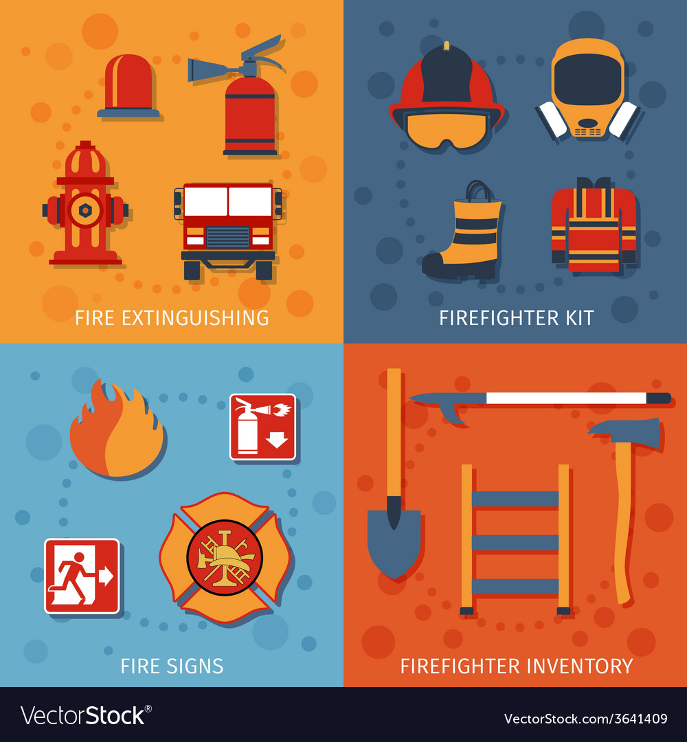 Firefighter flat set vector | Price: 1 Credit (USD $1)