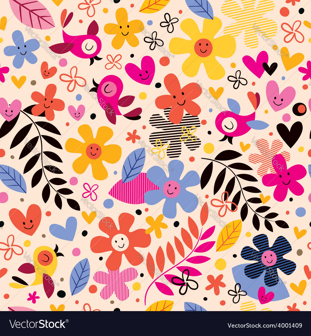 Flowers and birds pattern 3 vector | Price: 1 Credit (USD $1)