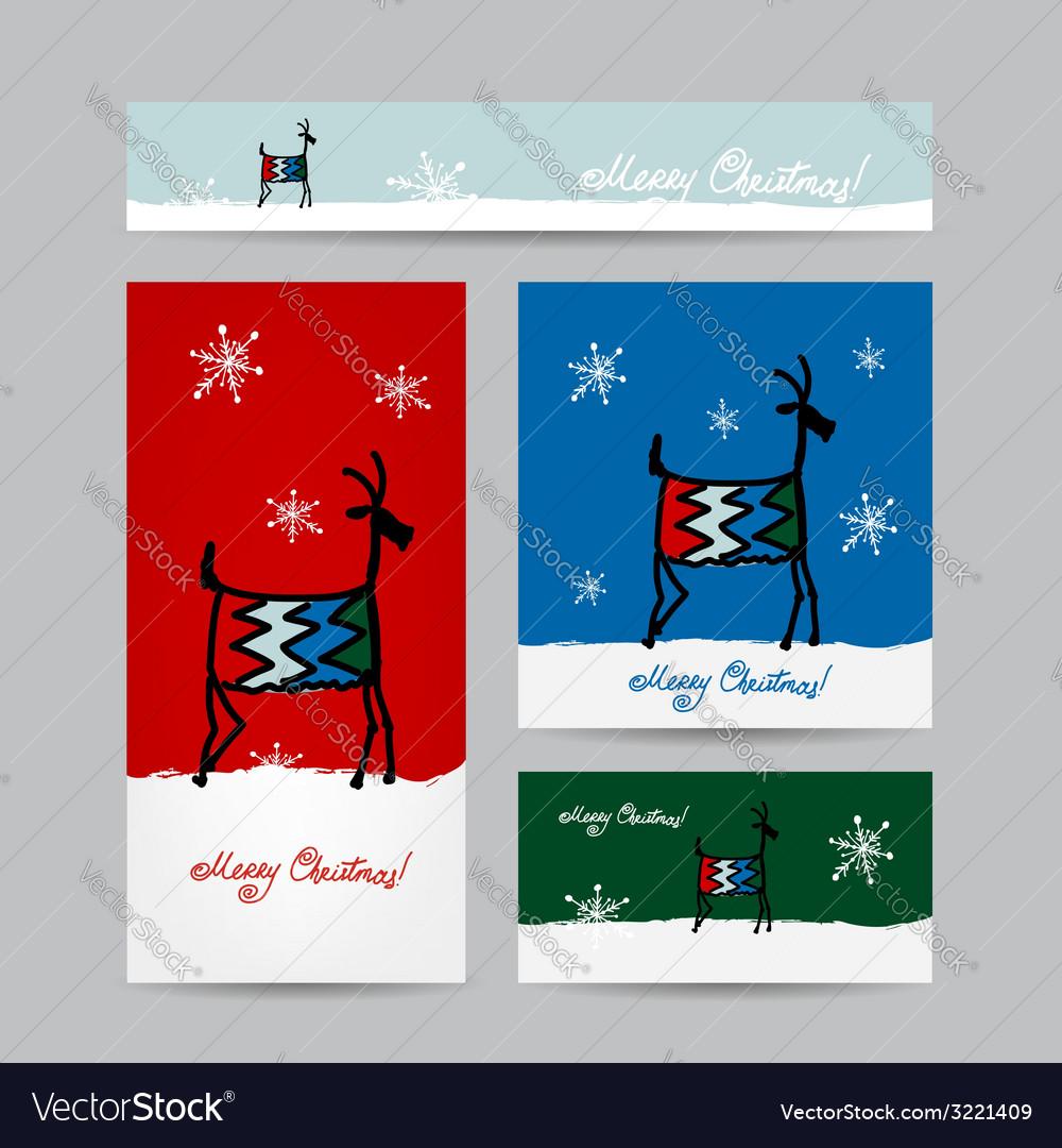 Funny goat santa christmas cards design vector | Price: 1 Credit (USD $1)
