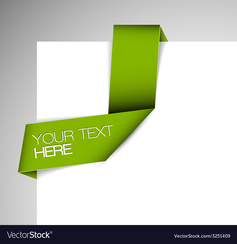 Green paper origami ribbon vector | Price: 1 Credit (USD $1)