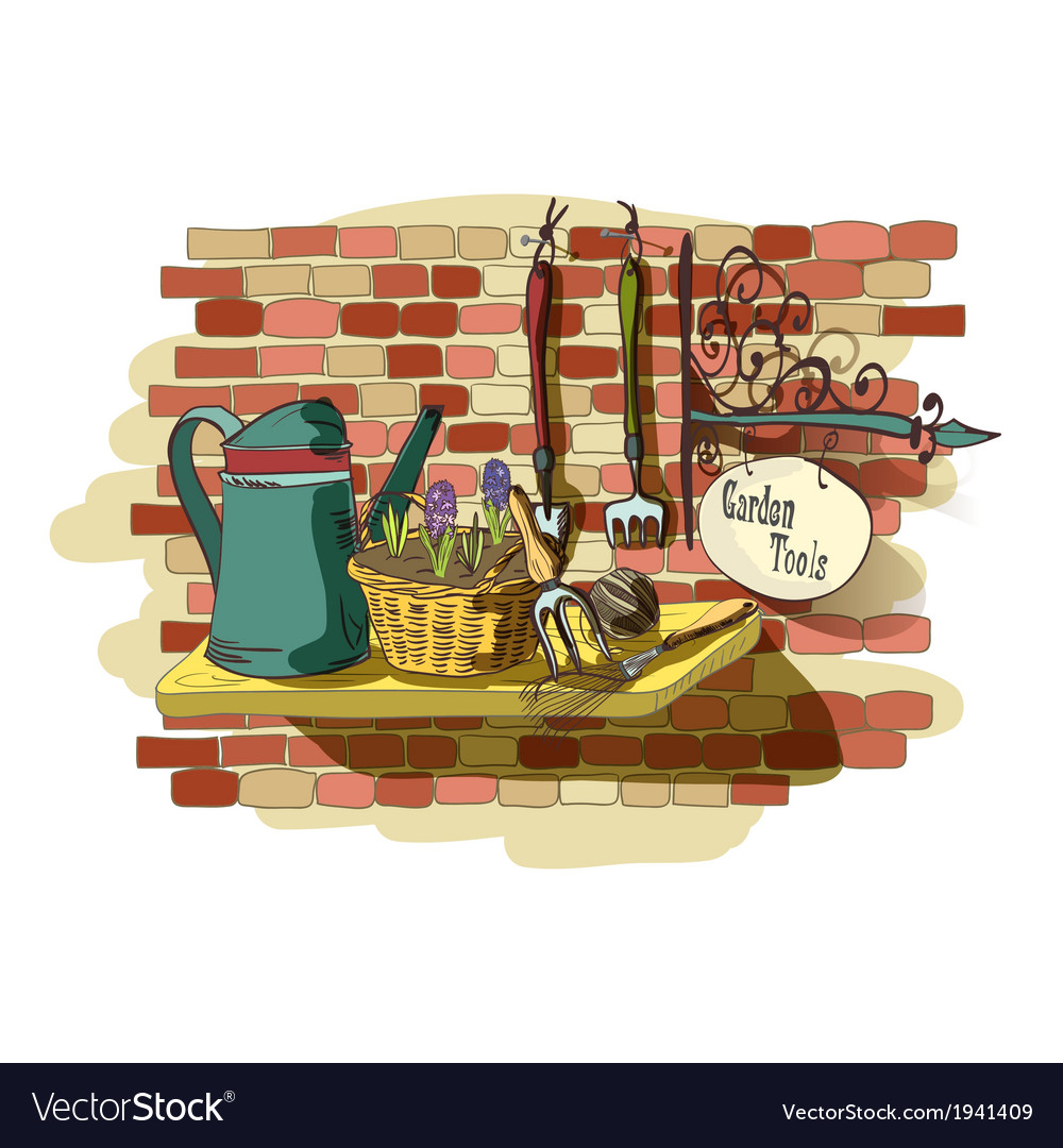 Hand drawn still life of gardening tools vector | Price: 1 Credit (USD $1)