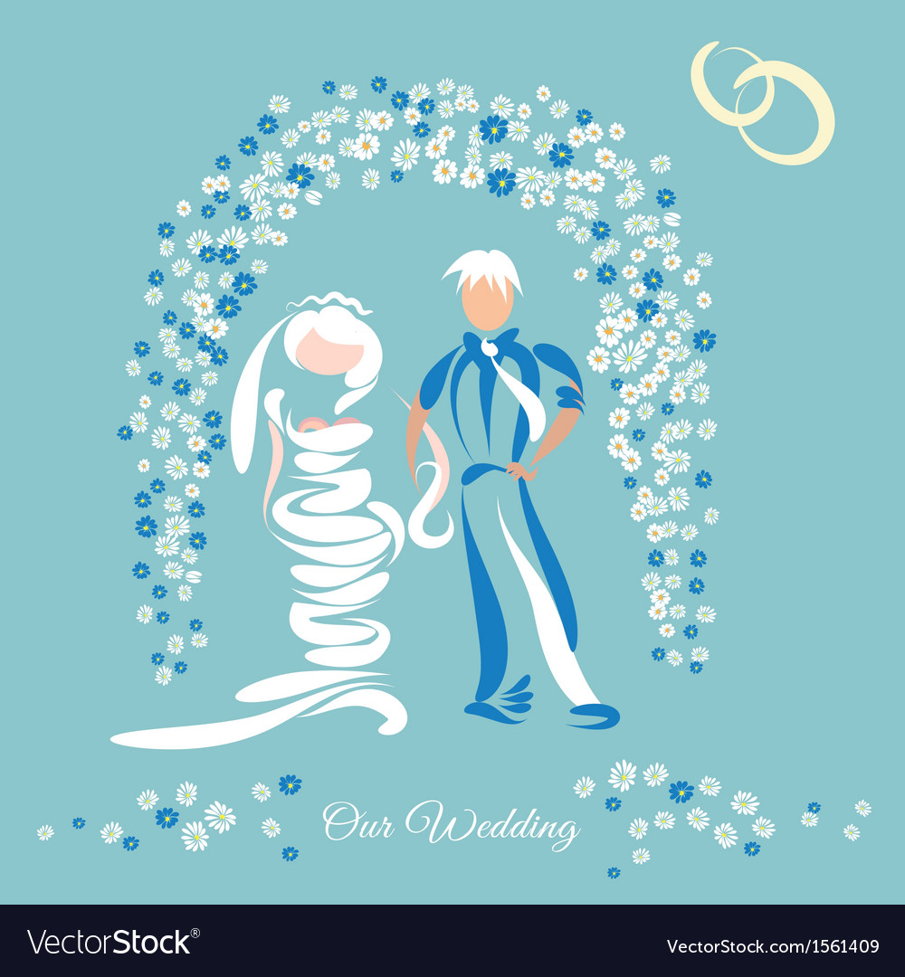 Just married couple and floral arch vector | Price: 1 Credit (USD $1)