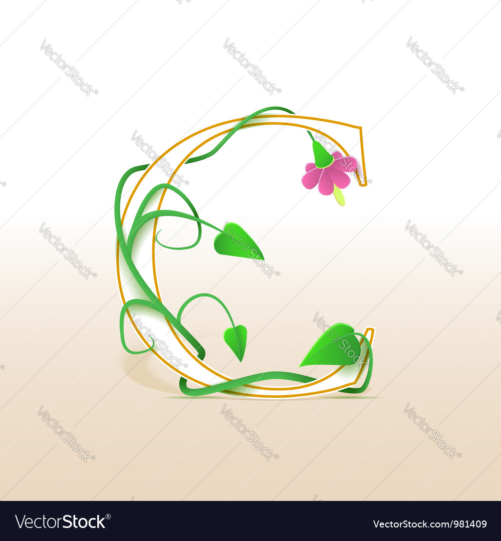 Letter c with an vintage floral pattern vector | Price: 1 Credit (USD $1)