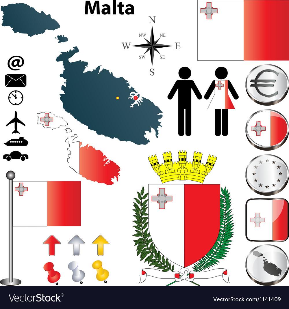 Malta map vector | Price: 1 Credit (USD $1)