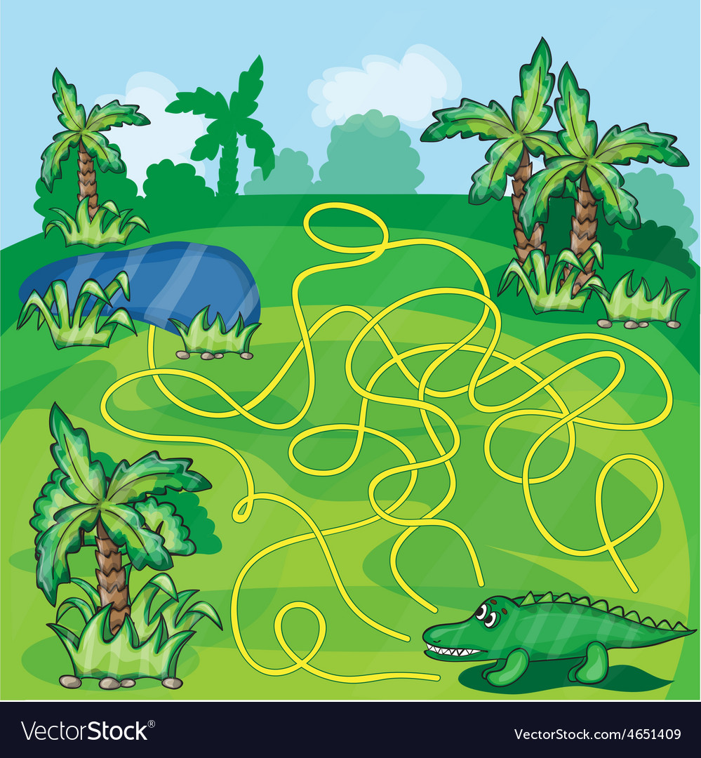 Maze game with crocodile vector | Price: 3 Credit (USD $3)