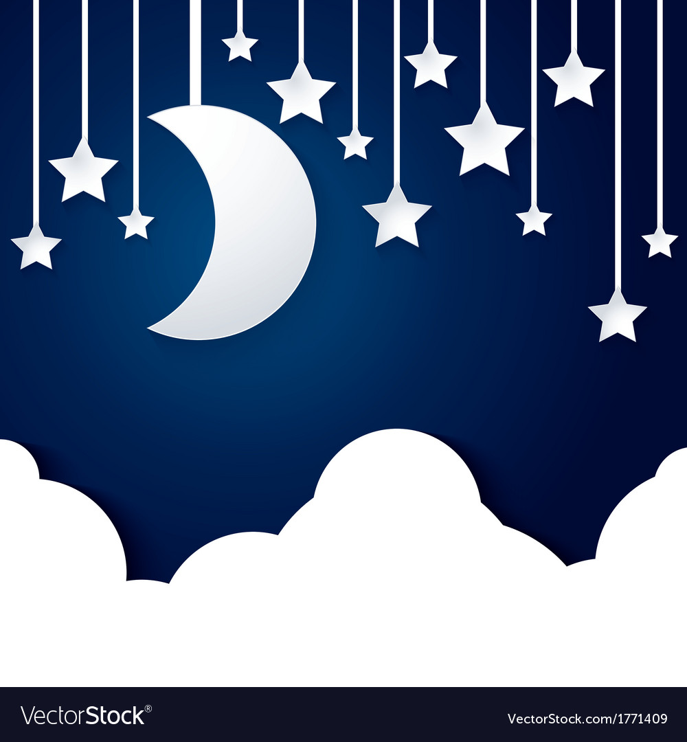Moon star and cloud paper vector | Price: 1 Credit (USD $1)