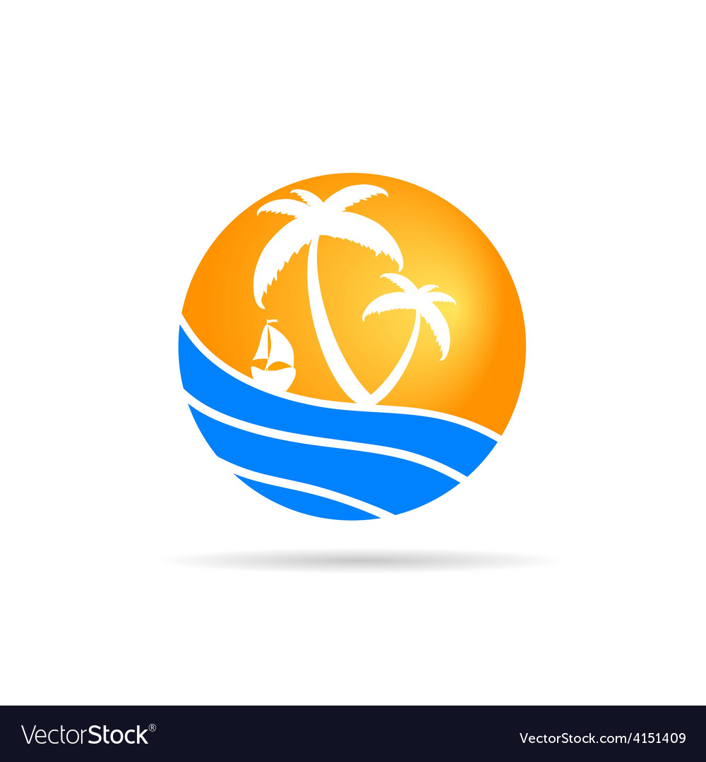Palm with sea icom color vector | Price: 1 Credit (USD $1)