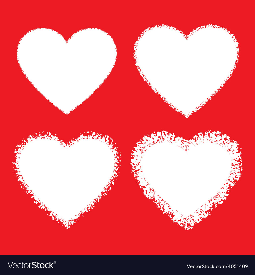 Set of white hand drawn grunge hearts vector | Price: 1 Credit (USD $1)