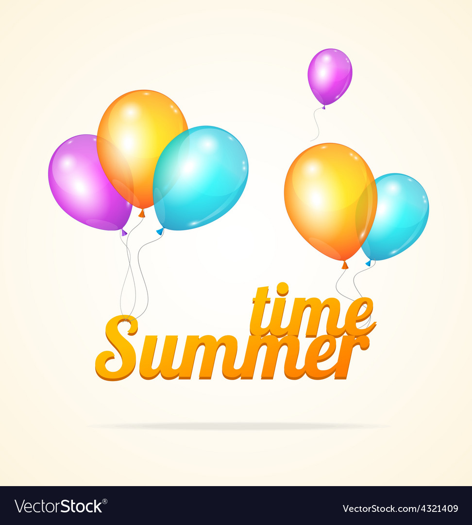 Summer ballon card vector | Price: 1 Credit (USD $1)