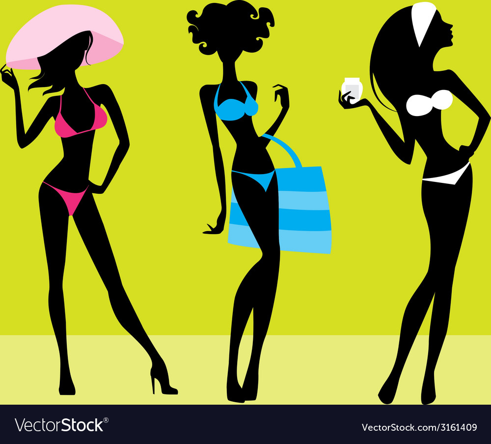 Three girls silhouettes vector   Price: 1 Credit (USD $1)