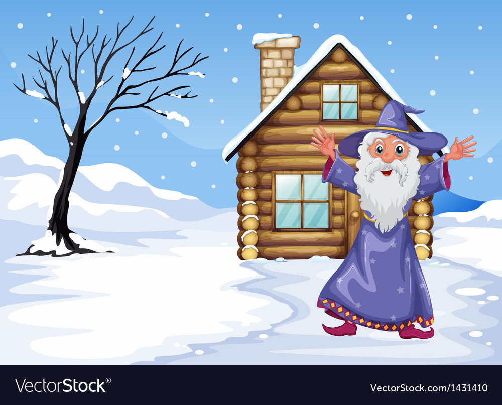 A wizard outside the house on a snowy season vector | Price: 1 Credit (USD $1)