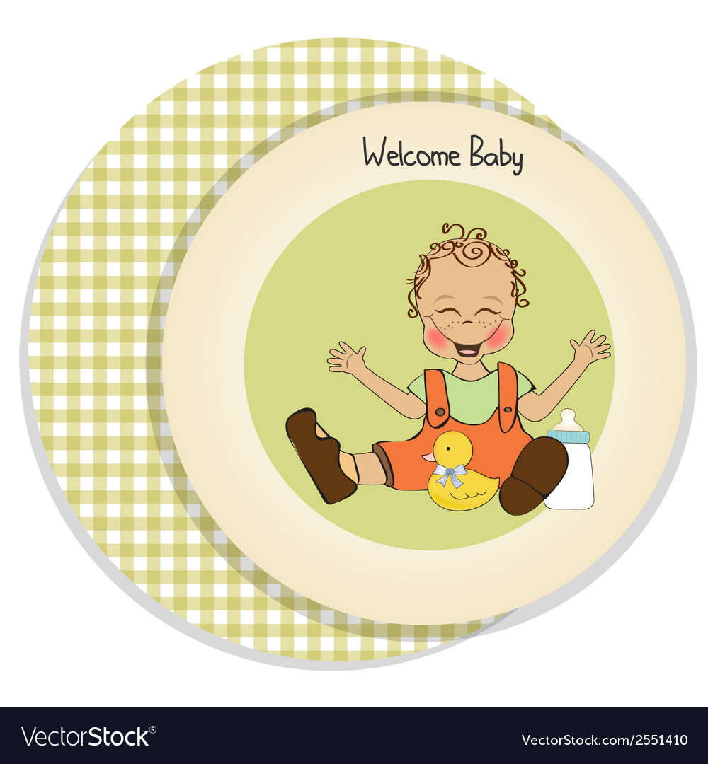 Baby boy playing with his duck toy welcome baby vector   Price: 1 Credit (USD $1)