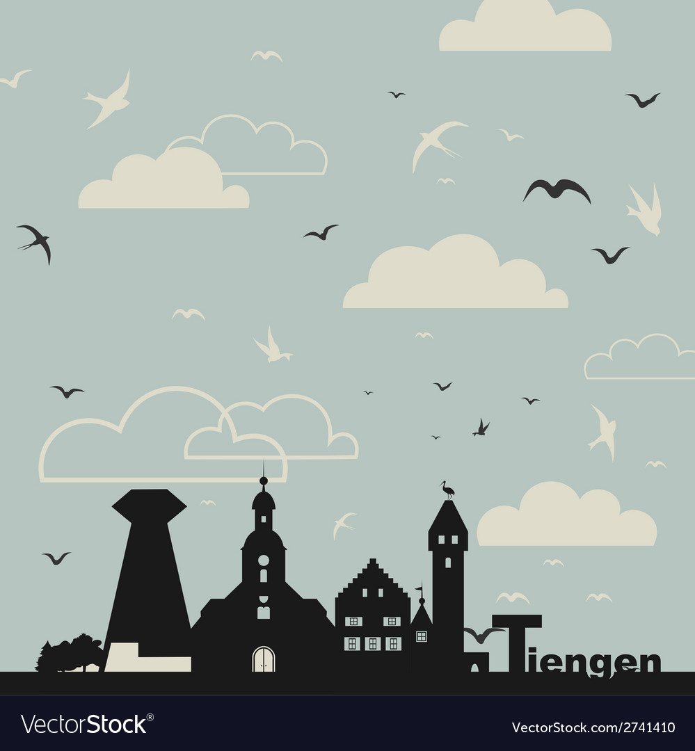 Birds over a city vector | Price: 1 Credit (USD $1)