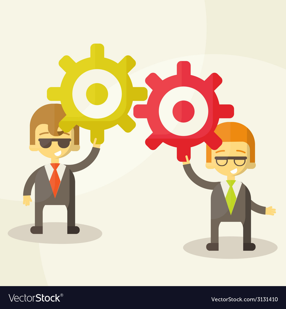 Businessman with gears team work vector | Price: 1 Credit (USD $1)