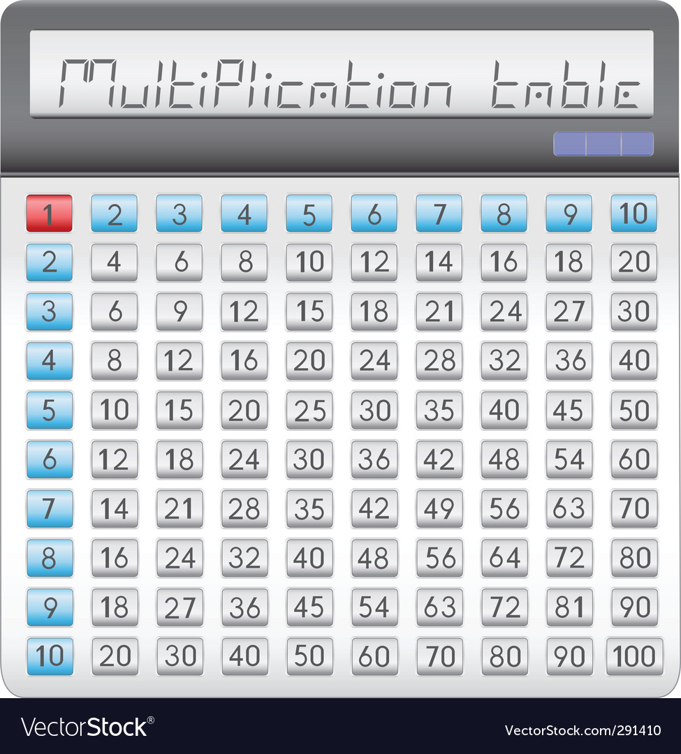 Calculator multiplication table vector | Price: 1 Credit (USD $1)