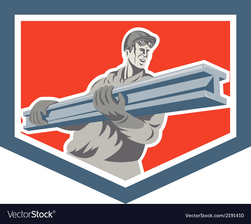 Construction steel worker carrying i-beam shield vector | Price: 1 Credit (USD $1)