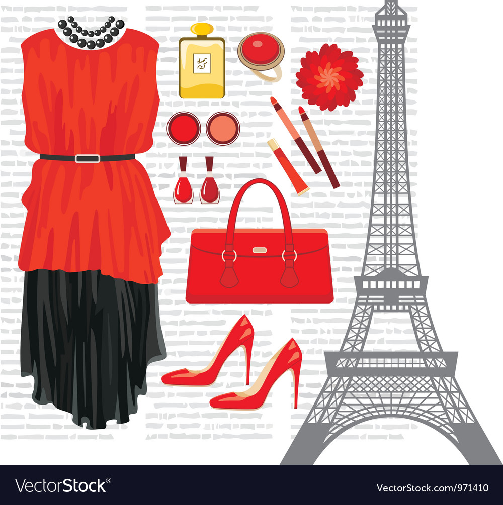 Fashion set with the eiffel tower vector | Price: 1 Credit (USD $1)