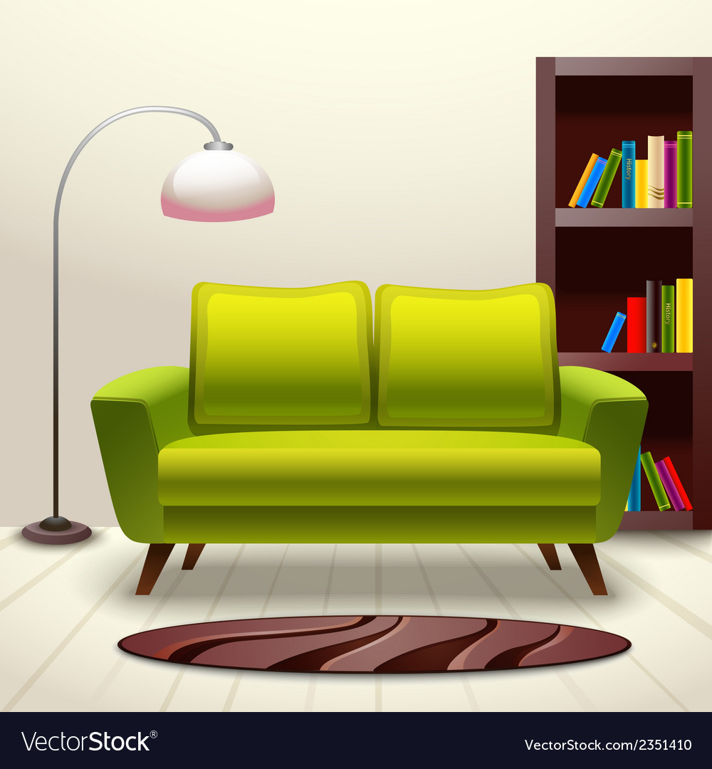 Interior design sofa vector | Price: 1 Credit (USD $1)