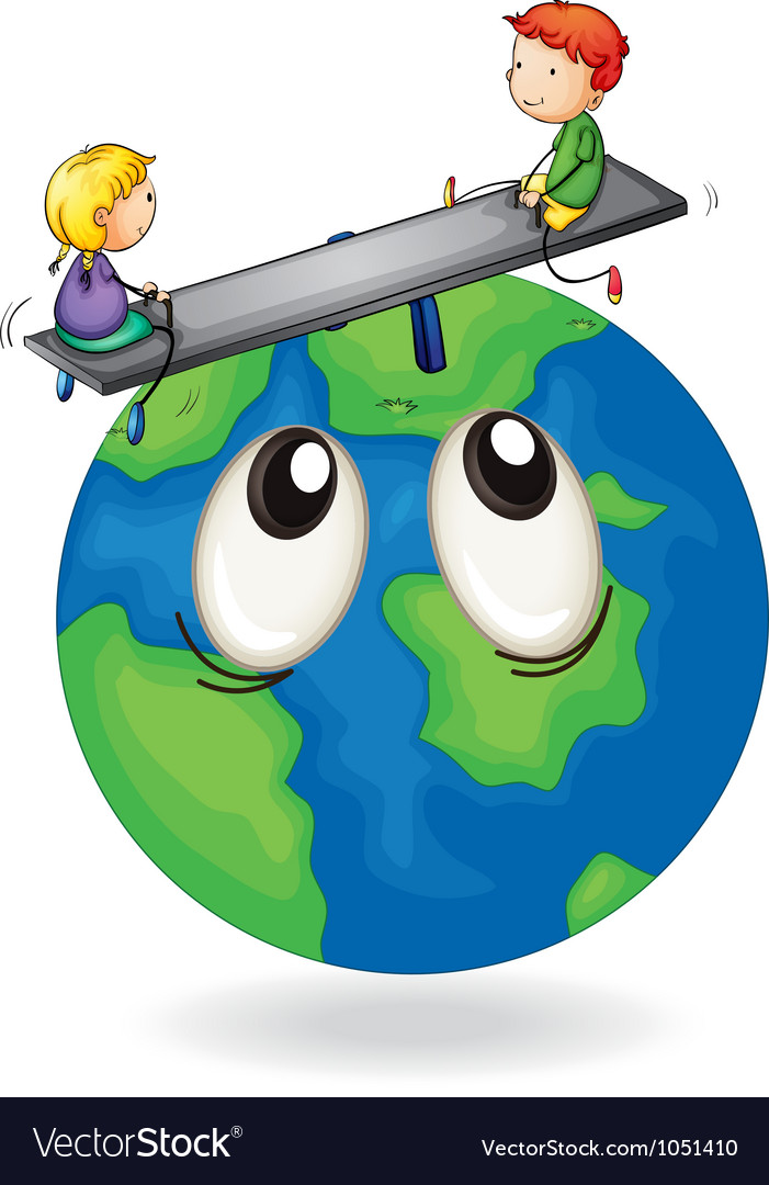 Kids playing on earth globe vector | Price: 3 Credit (USD $3)
