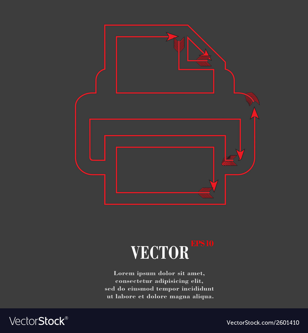 Printer flat modern web button and space for your vector | Price: 1 Credit (USD $1)