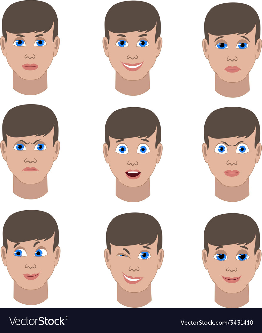 Set of variation of emotions of the same guy vector | Price: 1 Credit (USD $1)