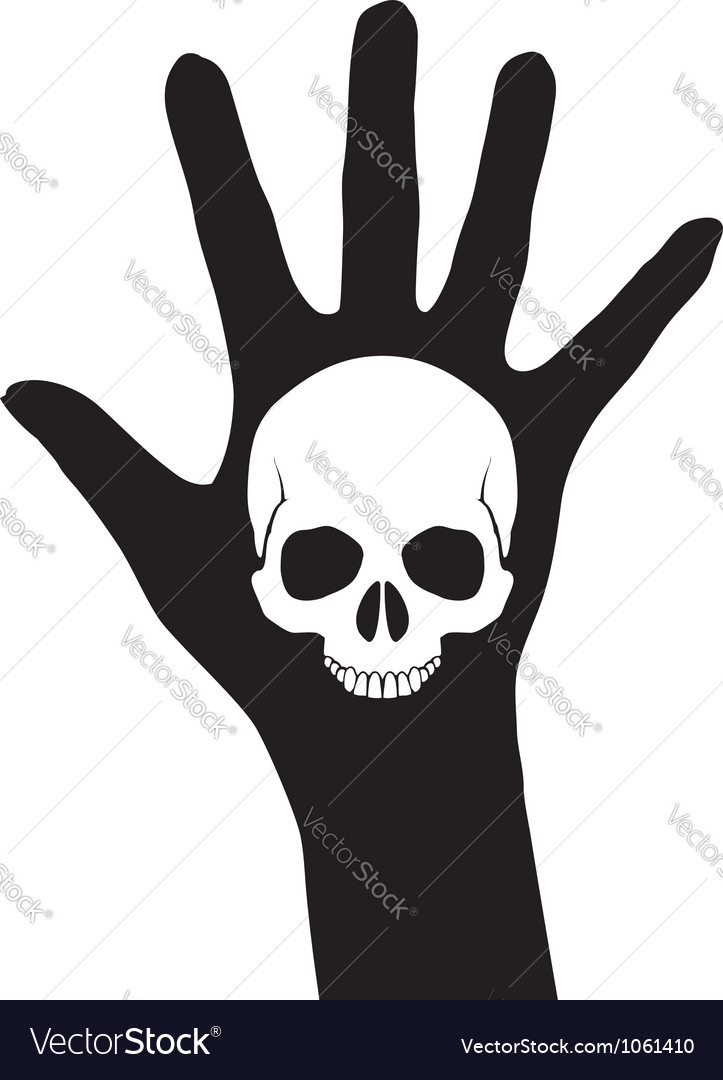 Skull on the hand vector | Price: 1 Credit (USD $1)