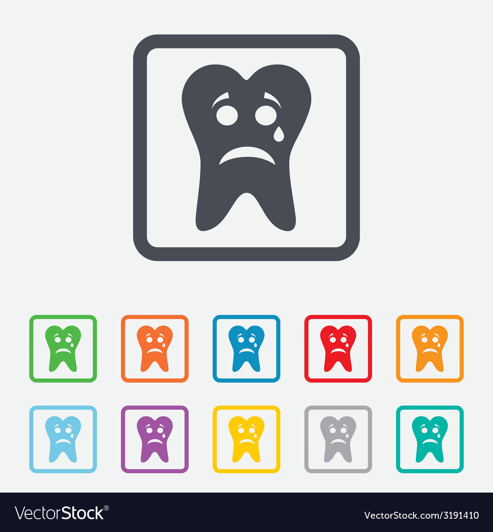 Tooth sad face with tear sign icon aching tooth vector | Price: 1 Credit (USD $1)