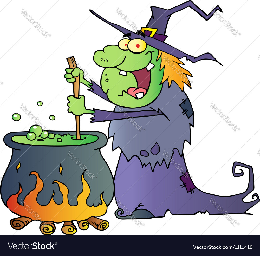 Ugly halloween witch preparing a potion vector | Price: 1 Credit (USD $1)